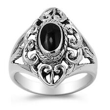 Women 21mm 925 Sterling Silver Black Onyx Ladies Vintage Style Ring Band