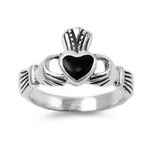 Women 11mm 925 Sterling Silver Black Onyx Heart Claddagh Vintage Style Ring Band