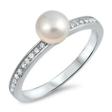 Women 6mm 925 Silver Freshwater Cultured Pearl CZ Ladies Vintage Style Ring Band