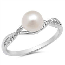 Women 7mm 925 Silver Freshwater Cultured Pearl CZ Ladies Vintage Style Ring Band