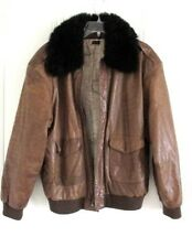 Vtg Military Distressed Leather Fur Collar B1 Bomber Flight Pilot Jacket S