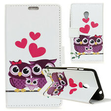 Love Owls Family Flip PU Leather Card Stand Wallet Case Cover For Various Phones