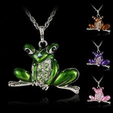 Enamel Frog Crystal Rhinestone Charm Pendant Sweater Chain Necklace Jewelry New