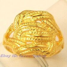 9# 17mm5g WOVEN CLOUDY STYLE REAL 18K YELLOW GOLD PLATED RING SOLID FILL GP
