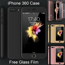 360 Hybrid Acrylic Hard Case Full Body Cover For iPhone 7 6s Plus TEMPERED GLASS