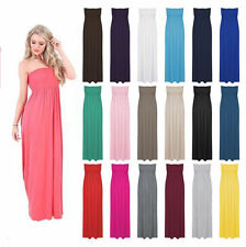 Womens Strapless Maxi Dress Ladies Sheering Boobtube Bandeau Long Plus Size 8-26