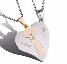Heart Pendants Stainless Steel Couples Key to I Love You  2 Beaded Chain 1 Pair