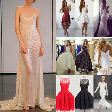 Vogue Lady's Sexy Shiny Lace Backless Long Ball Gown Evening Cocktail Prom Dress