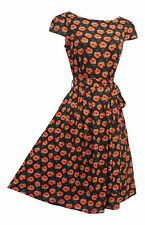 New Red Poppy Floral WWII 1930's/1940's Vtg style Land Girl Swing Tea Dress