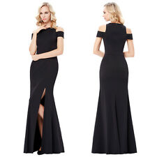 Full-Length Cap Sleeve Long Black High Split Prom Formal Evening Prom Dress Gown