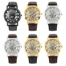 Cool Design Hollow Out Transparent Dial PU Leather Wrist Watch Gift New ZXHAPPY
