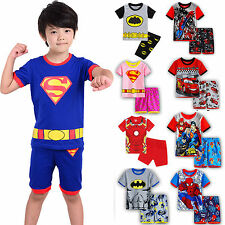 Baby Kids Boys Girls Short Sleeve T-shirt Top+Pants 2PCS Outfit Clothes Set 2-8Y