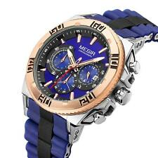 MEGIR Cool Mens Silicone Chronograph Watch Date Military Sports WristWatch M2T7