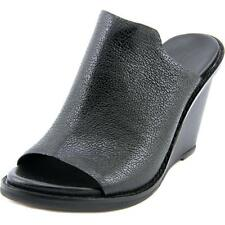 French Connection Pandra Women  Open Toe Leather Black Wedge Heel