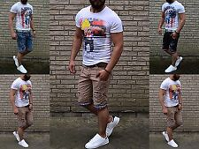 Doubles Pocket Jeans Shorts Stone Washed Destroyed checkered Look Denim Shorts