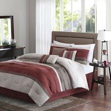 7pc Burgundy Microsuede Comforter Bed Skirt Pillow Shams AND Pillows