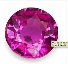 AAA Rated Round Dark Pink Lab Created Pink Sapphire Gemstones (5mm-20mm)