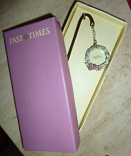 PAST TIMES Rare Boxed BookMark Enamelled Floral Wreath Book Mark & Magnifier