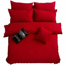 Fashion European Bedding Set Red Grid Duvet Cover Set Queen Bed Cover
