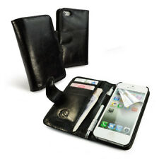 Tuff-Luv Vintage Leather Smartphone Wallet-Style Case Cover & Screen Prot Black