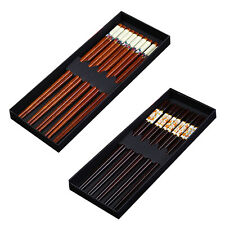 5 Pairs Eco-friendly Chinese Style Hand Carved Wooden Chopsticks with Gift Box