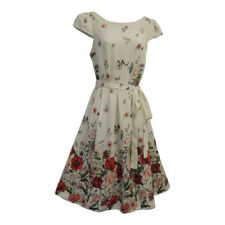 New White Floral WWII 1930's/1940's Vtg style Land Girl Swing Tea Dress