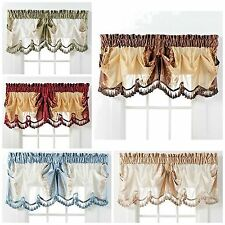 Window Treatments Single Valance Curtain Embroidered Floral Faux Silk Drape New