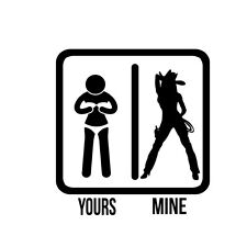 Decal Vinyl Truck Car Sticker - Sexy Hot Women Girl Adult Pinup Yours Mine