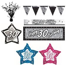 BLACK & SILVER - Age 30 - Happy 30th Birthday PARTY ITEMS Decorations Tableware