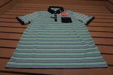 NEW Puma Golf Tailored Pocket Stripe Polo Mens Size Medium   Black Sample 11b
