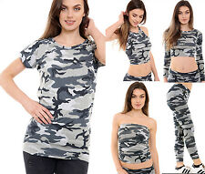 Womens Ladies Girls Cami Crop Top Vest Top Army Camouflage Stretch Legging New