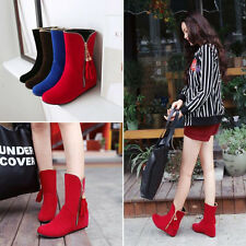 Women Ankle Tassel Boots Flats Booties PU Leather Black Stretch Shoes