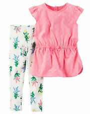 New Carter's 2 Piece Pink Eyelet Tunic Top & Floral Leggings Set NWT 3t 4t 5T