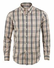 Man Long Sleeve Shirt Button Down Cotton Check striped Casual GIROGAMA 2353