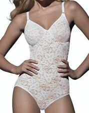 Womens 34 C D DD BALI Lace N Smooth Shaping WHITE Firm Control Body Briefer Suit