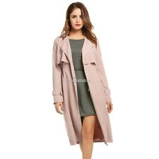 Women Lapel Single-breasted Casual Lightweight Cape Long Trench Duster Coat N98B