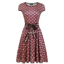 Women Cap Sleeve Vintage Style Floral Print Pleated Mini Dress With Belt N98B
