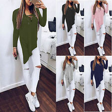 Womens Lace up Blouse Tops Long Sleeve Side Split Casual Long T-shirt Mini Dress