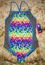 SPEEDO Illusion Cube Splice 1 pc Swim Suit Blue Pink Green NEW GIRLS Sz 12 14 16