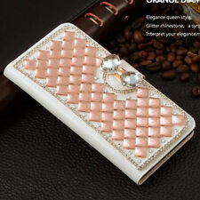 Rose Gold Bling Bowknot Crystal Diamond Wallet Flip Case For Various Phones