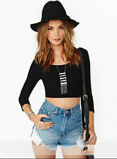 Backless Sleeve Open Shirt Women Sexy Black Halter hollow Cross Long T-shirt