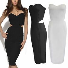 NEW WOMENS CUT OUT WAIST MIDI DRESS BANDEAU STRAPLESS SWEETHEART LADIES BODYCON
