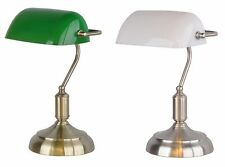 Bankers Lamp Glass Office Desk Modern Light Table Lamp Green White Shade
