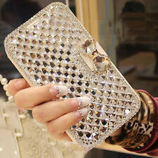 2017 White Bling Bowknot Crystal Diamond Wallet Flip Case For Various Phones