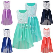 Wedding Pageant Girls Lace Chiffon High Low Dress Casual Party Summer Kids Dress
