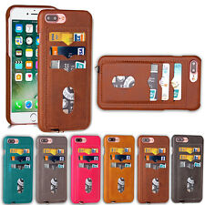 Fashion Simple skin pattern oil edge PU+PC Card Slot Back Case Cover For iPhone
