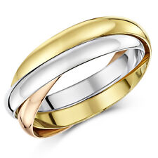 18ct Gold Wedding Ring 3 Colour Russian 3mm Band
