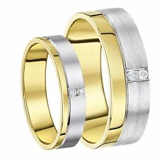 His & Her 9ct Gold Wedding Rings Two Colour Diamond  5-7mm Bands