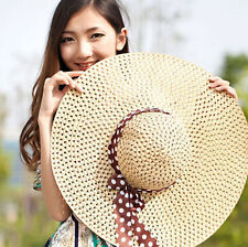 Straw Hat Beach Hat Cap Hot Summer Sun Derby Lady Women Floppy Wide Brim Fold