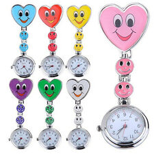 Womens Smiling Face Heart Clip-On Pendant Nurse Fob Brooch Pocket Watch High-End